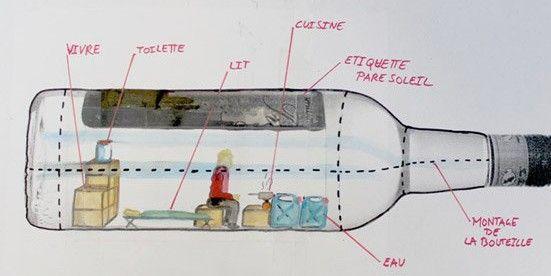 Croquis d'installation de la bouteille  (A. Poincheval )