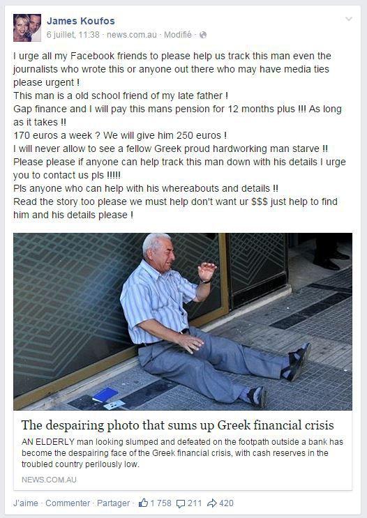 Capture d'écran d'un billet d'un Australien, James Koufos, qui se propose d'aider un retraité grec dans le besoin. (FACEBOOK)
