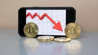 Le bitcoin a chuté lourdement, le 19 mai 2021. (BENOIT DURAND / HANS LUCAS / AFP)