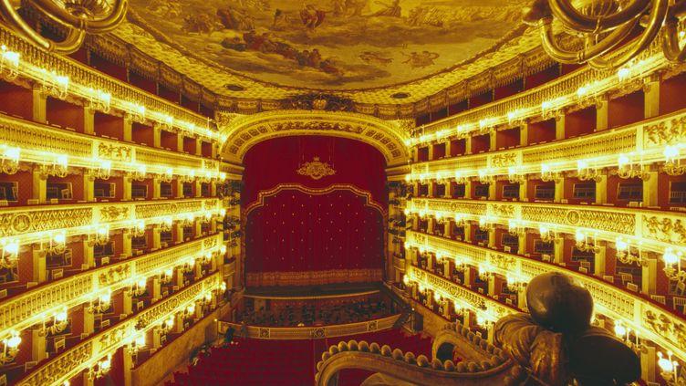 Vue de l'intérieur du théâtre San Carlo, à Naples (Italie). (ANA / ONLY WORLD / AFP)
