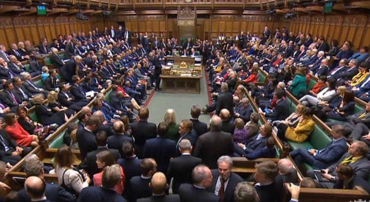 L'intérieur de la Chambre des communes britanniques, le 24 octobre 2019 à Londres (Royaume-Uni). (HO / PRU / AFP)