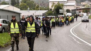 Au total, envion un millier de personnes ont participé à la battue citoyenne à Pont-de-Beauvoisin (Isère), le 2 septembre 2017. (PHILIPPE DESMAZES / AFP)