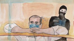 L'accusé Ali Riza Polat, le 26 octobre 2020 devant la cour d'assises spéciale de Paris. (ELISABETH DE POURQUERY / FRANCEINFO)