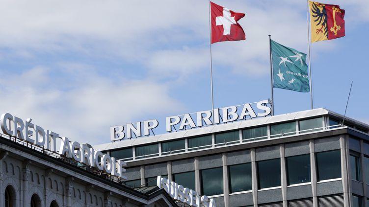 Les bâtiments du Crédit agricole et de BNP Paribas à Genève (Suisse), en août 2008. (DENIS BALIBOUSE / REUTERS)