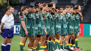 L'équipe australienne de rubgy en décembre 2020 lors d'un match des Tri-nations contre l'Argentine. (DAVID GRAY / AFP)