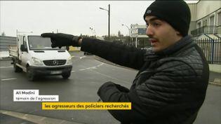 Ali Madini raconte l'agression de deux policiers à Champigny-sur-Marne (Val-de-Marne), le 2 janvier 2018. (CAPTURE ECRAN / FRANCEINFO)