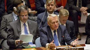 Jean-Marc Ayrault lors de la présentation de la résolution française sur le cessez-le-feu à Alep, aux Nations Unies (New York, Etats-Unis), le 8 octobre 2016. (DOMINICK REUTER / AFP)
