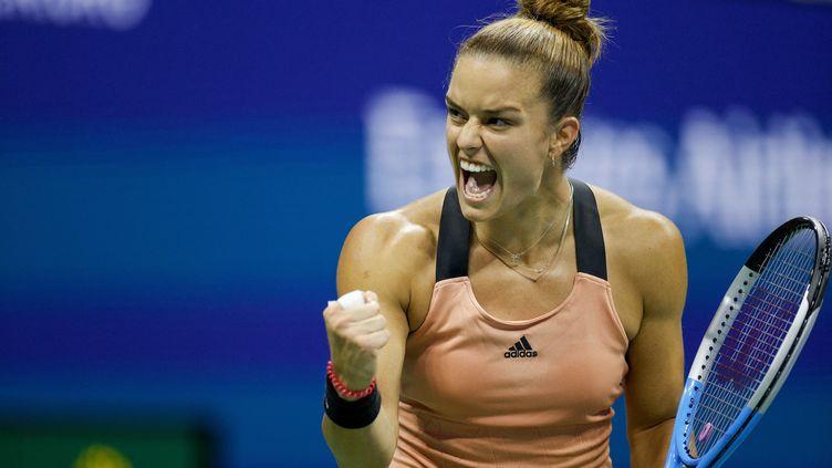 Maria Sakkari rejoint les quarts de finale de l'US Open pour la première fois de sa carrière, après avoir remporté son match contre Bianca Adreescu en trois sets (6-7, 7-6, 6-3). (SARAH STIER / GETTY IMAGES NORTH AMERICA / AFP)