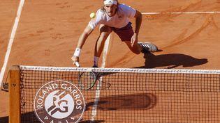Stefanos Tsitsipas lors de sa défaite en finale de Roland-Garros contre Novak Djokovic, dimanche 13 juin. (NICOL KNIGHTMAN / NICOL KNIGHTMAN)