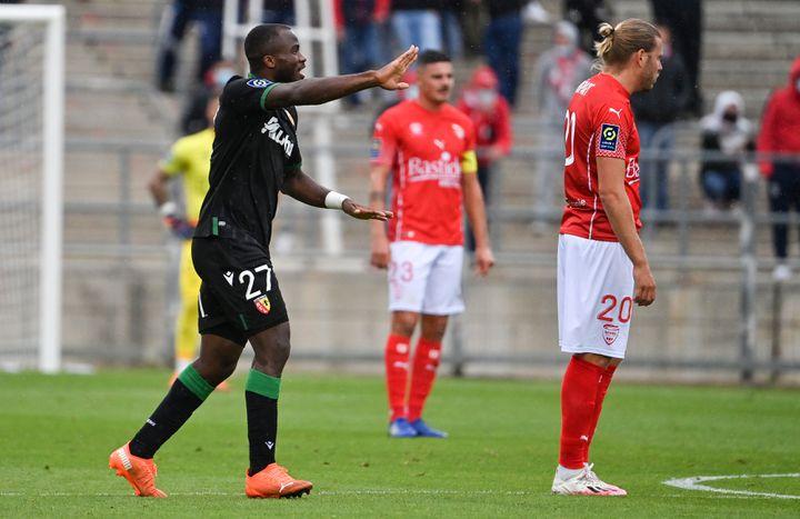 Ganago, à nouveau buteur contre Nîmes, est sorti sur blessure dimanche (PASCAL GUYOT / AFP)
