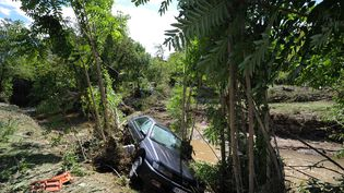 Une voiture dans un cours d'eau après des inondations, le 14 septembre 2015 à Gammal (Gard). (SYLVAIN THOMAS / AFP)