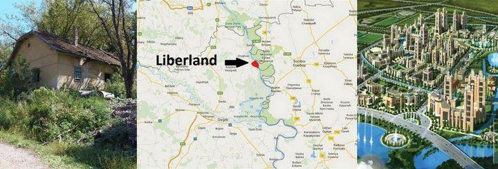 Le Liberland, entre réalité et utopie, entre Croatie et Serbie... A gauche, la seule habitation du pays ; à droite, une vision de la capitale, Liberpolis. (Facebook, Google Maps)