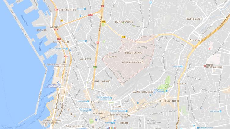 Carte de localisation du quartier populaire de la Belle de Mai dans le 3e arrondissementde Marseille. (GOOGLEMAPS)