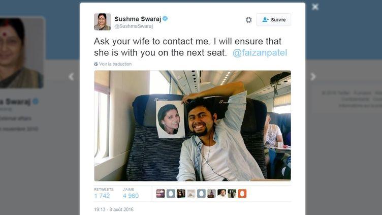Le message de Sushma Swaraj, ministre des Affaires étrangères indienne, publié le 8 août 2016. (TWITTER)