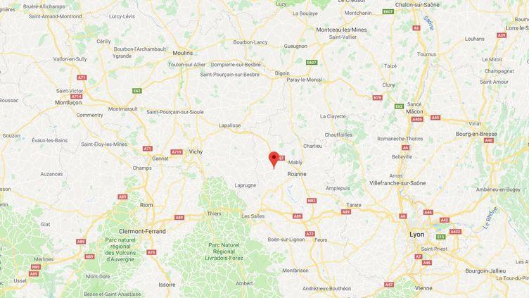 Un homme est mort écrasé par un arbre samedi 20 juillet, à Renaison (Loire) après le passage d'une mini-tornade. (GOOGLE MAPS)