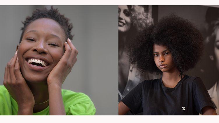 Les mannequins brésiliennesShirley Pitta (à gauche) etGloria Maria Siqueira (à droite)à Sao Paulo au Brésil lors de la Fashion Week de novembre 2020 (AFP)