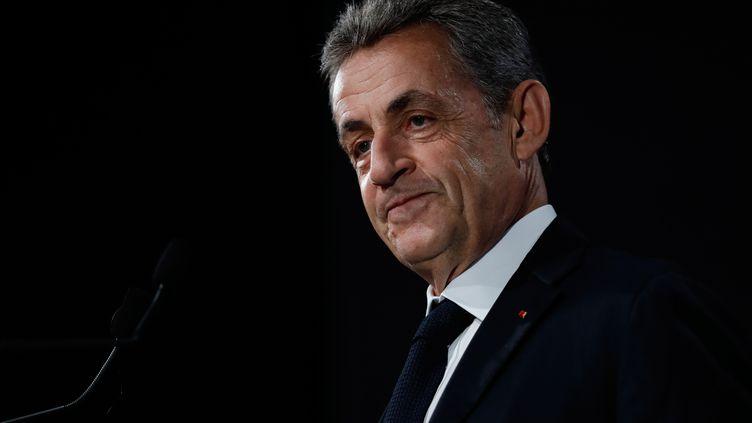 L'ancien présidentNicolas Sarkozy, le 21 juin 2019, lors d'une conférence de presse, à Paris. (THOMAS SAMSON / AFP)
