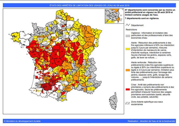 La carte des zones de sécheresse en France, le 29 août 2019. (PROPLUVIA)
