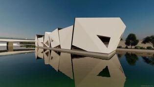 L'îleÔ, le projet du théâtre flottant sur le Rhôneverra le jour en 2022à Lyon (France 3 Aura / Koen Olthuis – Waterstudio. NL)