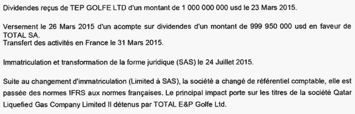 Extrait des comptes 2015 de Total E&P Golfe Holding. (DR)