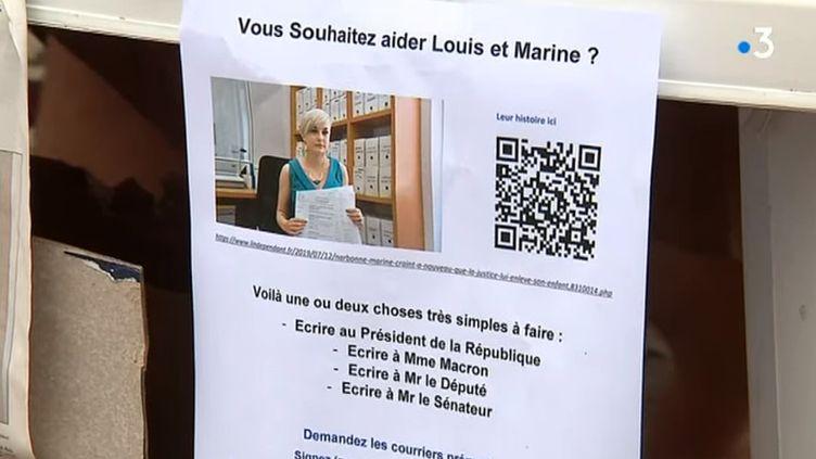 Capture d'écran d'un appel lancé pour aiderMarine Verhoeven diffusé dans un sujet de France 3 Occitanie en juillet 2019. (FRANCE 3 OCCITANIE)