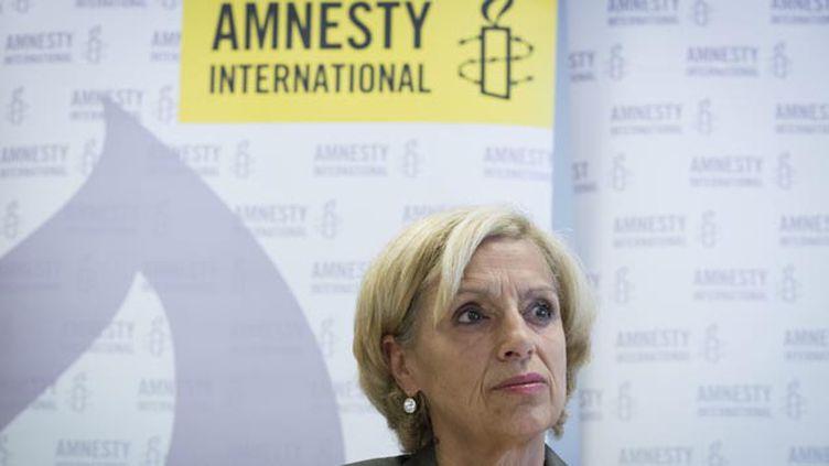 (La présidente d'Amnesty International France, Geneviève Garrigos, épingle la France sur plusieurs mesures de lutte contre le terrorisme © MaxPPP)