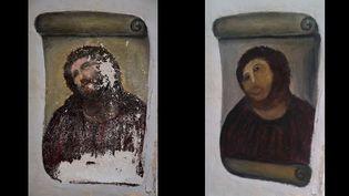 Le Christ de Borja avant et après restauration malheureuse  (Centro de Estudios Borjanos)