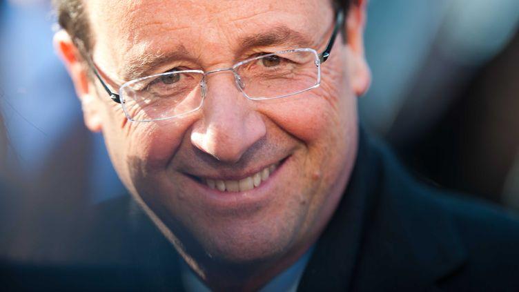 Le candidat socialiste à l'Elysée, François Hollande, lors du sommet de l'innovation Futurapolis, à Toulouse, le 11 février 2012. (LANCELOT FREDERIC / SIPA)