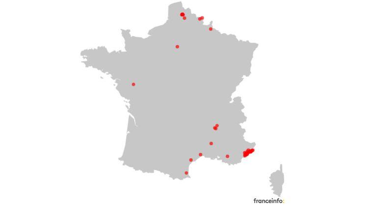 Carte des premières communes à avoir imposé un couvre-feu pour lutter contre le Covid-19. (FRANCEINFO)