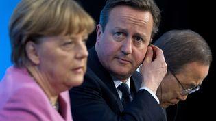 La chancelière allemande Angela Merkel et le Premier ministre britannique David Cameron à Londres (Grande-Bretagne), le 4 février 2016. (JUSTIN TALLIS / AFP)