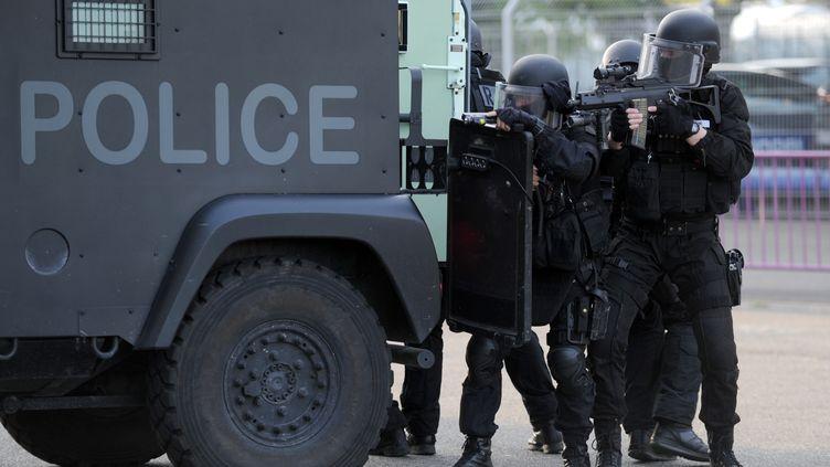 Des membres du Raid en opération le 16 avril 2016 à Toulouse. (REMY GABALDA / AFP)