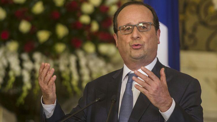 Francois Hollande au palais présidentiel du Caire (Egypte), le 17 2016. (KHALED DESOUKI / AFP)