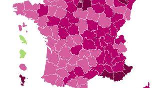 Taux d'incidence par département le 21 février (FRANCEINFO)