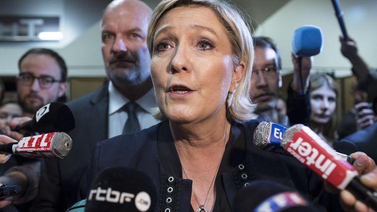 Marine Le Pen, au congrès du FN, à Lille, samedi 10 mars 2018. (YANN CASTANIER / HANS LUCAS / AFP)