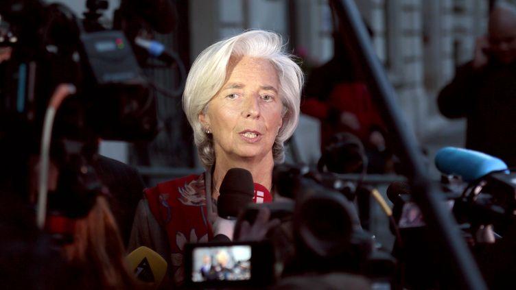 La directrice générale du FMI, Christine Lagarde, à la sortie de son audition devant la Cour de justice de la République, qui l'a placé sous le statut de témoin assisté. (JACQUES DEMARTHON / AFP)