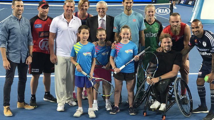 Novak Djokovic lors d'une soirée caritative en Australie