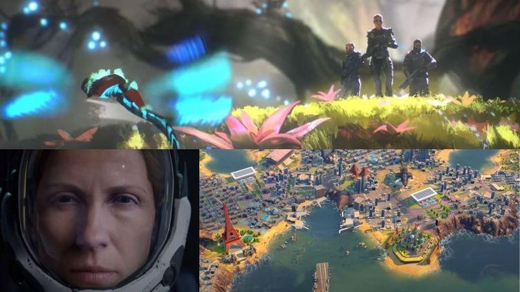 """En haut : le jeu """"Outriders"""". En bas de gauche à droite, les jeux """"Returnal"""" et """"Humankind"""". (FRANCEINFO)"""