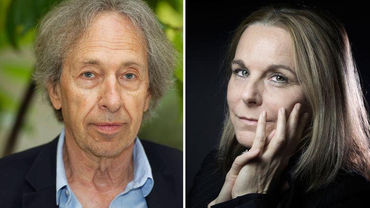 L'essayiste Pascal Bruckner (le 25 septembre 2019 à Paris) et la romancière Camille Laurens (le 8 janvier 2016 à Paris) (A gauche, DANIEL FOURAY / MAXPPP - A droite JOEL SAGET / AFP)