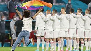 Un spectateur a pénétré sur la pelouse de l'Allianz Arena de Munich avec un drapeau arc-en-ciel, durant les hymnes avant le match Allemagne-Hongrie, le 23 juin 2021. (ALEXANDER HASSENSTEIN / POOL / AFP)