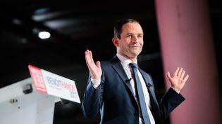 Benoît Hamon lors d'un meeting au Palais des Congrès de Montreuil (Seine-Saint-Denis), le 26 janvier 2017. (SIMON GUILLEMIN / HANS LUCAS / AFP)