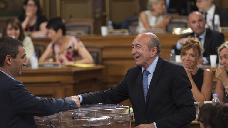 Gérard Collomblors de l'élection du maire de Lyon le 17 juillet 2017. (ROMAIN LAFABREGUE / AFP)