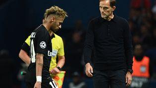 Thomas Tuchel et Neymar après un match de Ligue des Champions contre Naples, le 24 octobre 2018 à Paris. (FRANCK FIFE / AFP)