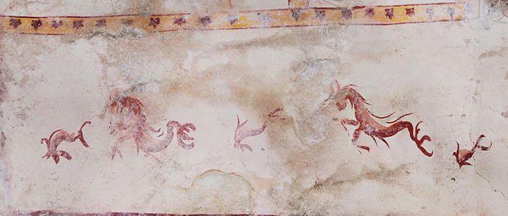Détails des fresques recouvrant une salle de la Domus Aurea (Maison Dorée), palais impérial construit à Rome par Néron au Ier siècle. (HANDOUT / PARCO ARCHEOLOGICO DEL COLOSSEO)