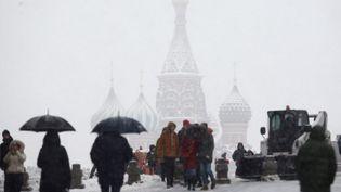 Moscou subit une tempête de neige, le 3 février 2018. (SEFA KARACAN / ANADOLU AGENCY / AFP)