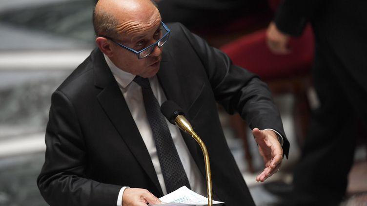 Jean-Yves Le Drian, le 14 mai 2019, à l'Assemblée nationale. (CHRISTOPHE ARCHAMBAULT / AFP)