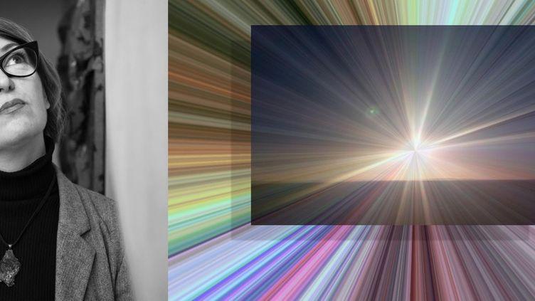 "Raphaële Bidault-Waddinghton et une de ses oeuvres ""Future Vision #2"" (Copyright Maria Spera et Raphaële Bidault-Waddinghton)"