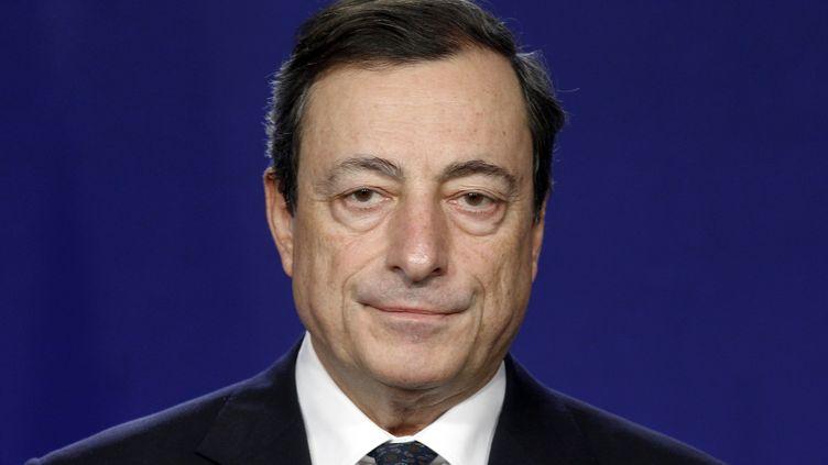 Le président de la Banque centrale européenne, Mario Draghi, a annoncé un nouveau programme de rachat de dette publique, jeudi 6 septembre. (SEBASTIEN NOGIER / AFP)