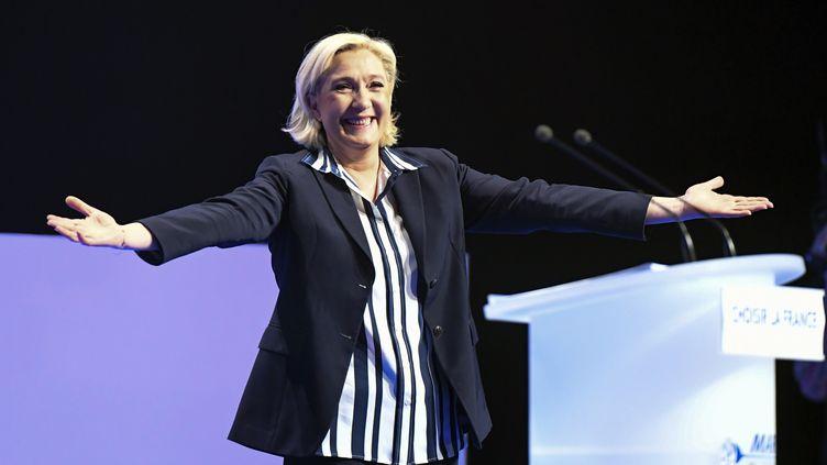 Marine Le Pen lors d'un meeting, le 27 avril 2017, à Nice (Alpes-Maritimes). (Photo d'illustration) (YANN COATSALIOU / AFP)