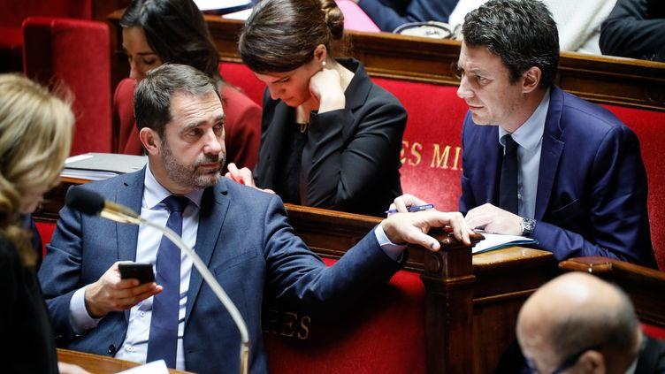 Christophe Castaner et Benjamin Griveaux à l'Assemblée nationale, le 22 novembre 2017. (MAXPPP)