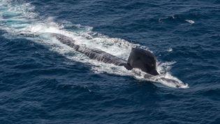 Photo aérienne non datée d'un sous-marin, publiée le 20 octobre 2020 par le constructeur naval français Naval Group. (NAVAL GROUP / AFP)